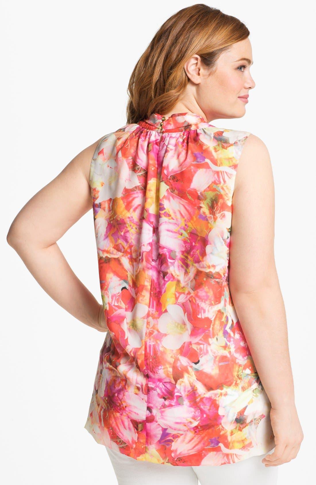 Alternate Image 2  - Vince Camuto Floral Print Sleeveless Blouse (Plus Size)