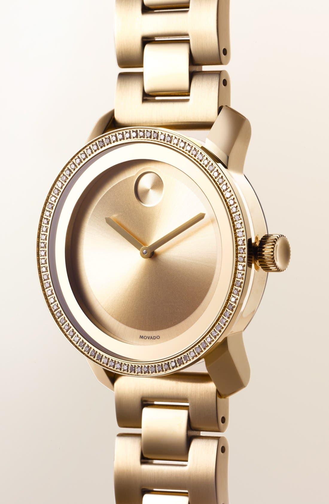 Alternate Image 2  - Movado 'Bold' Diamond Bezel Bracelet Watch, 36mm