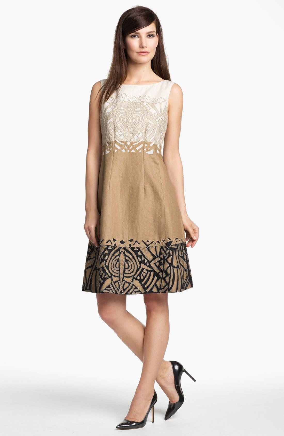 Main Image - Lafayette 148 New York 'Lavish Linen' Embellished Dress