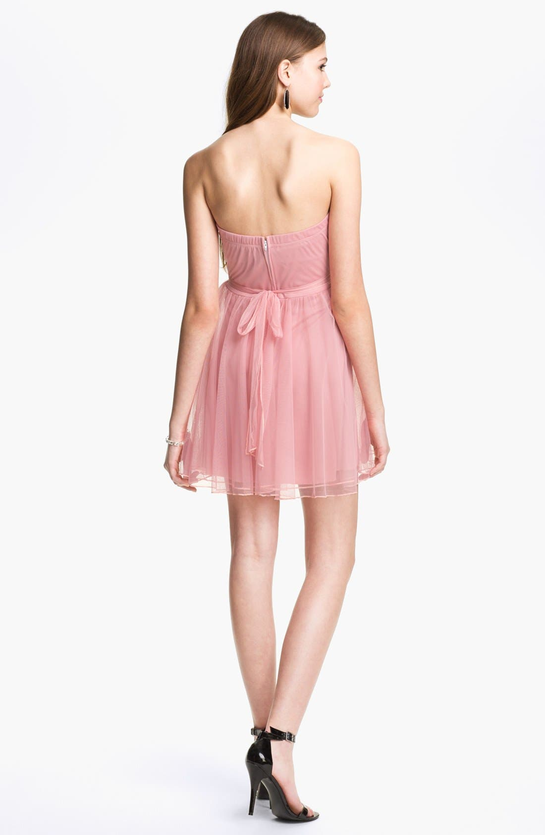 Alternate Image 2  - Trixxi Ruched Chiffon Party Dress (Juniors)