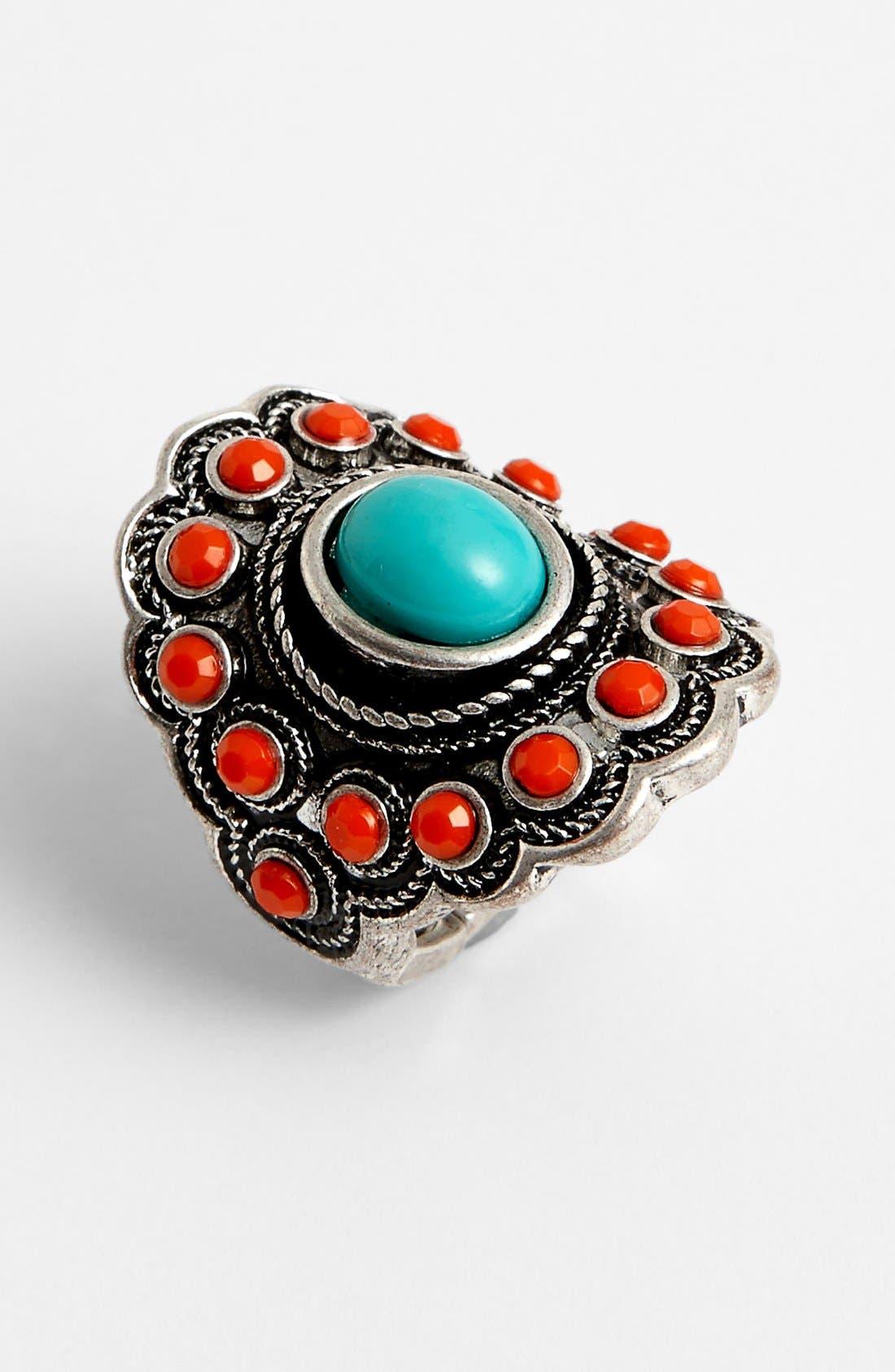 Main Image - BP. Turquoise & Coral Vintage Ring