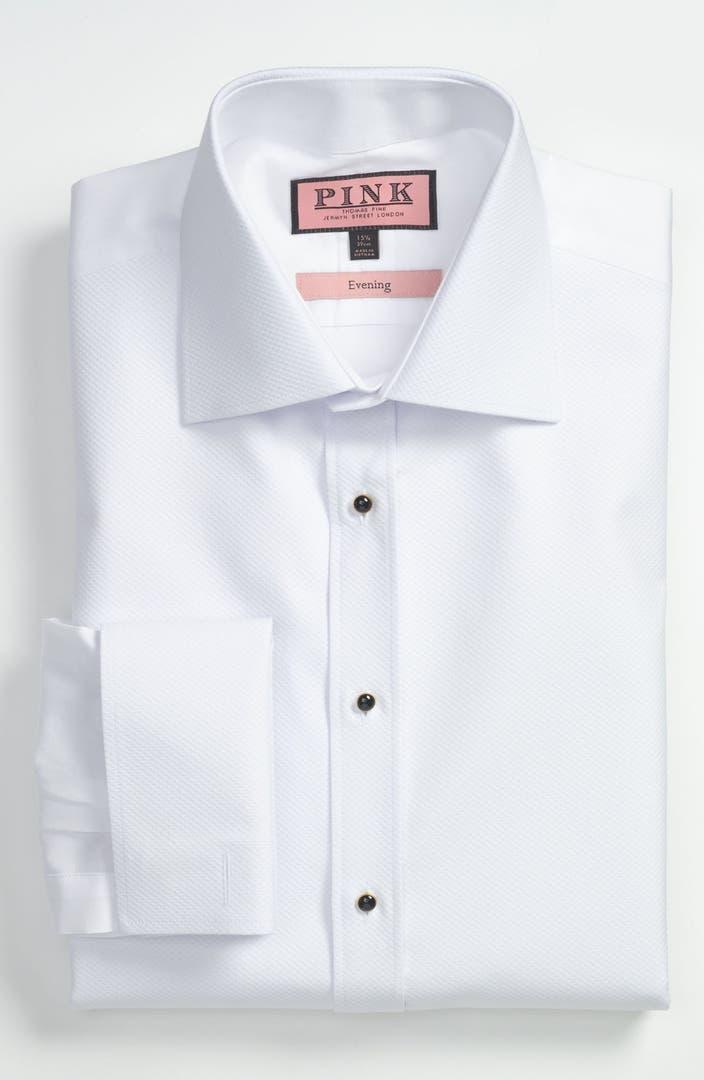 Thomas pink slim fit tuxedo shirt nordstrom for Best slim fit tuxedo shirt