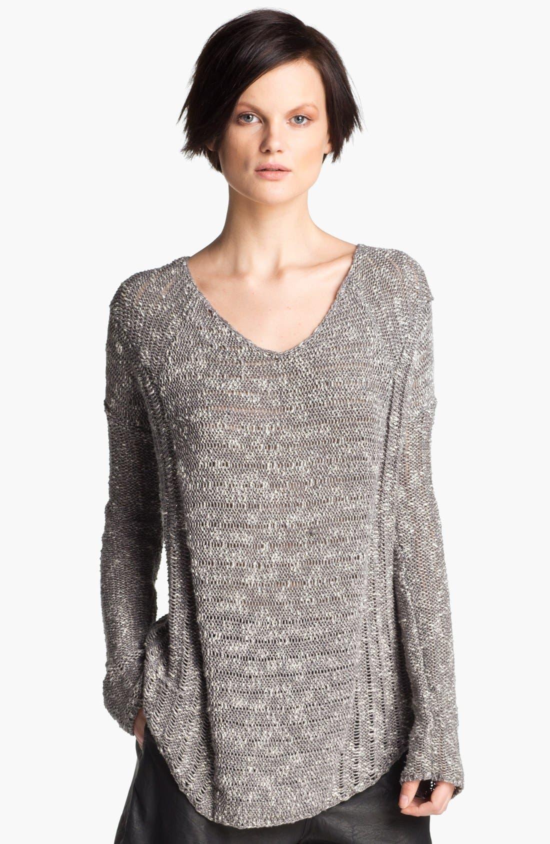 Alternate Image 1 Selected - HELMUT Helmut Lang 'Caged' Asymmetrical Hem Bouclé Sweater