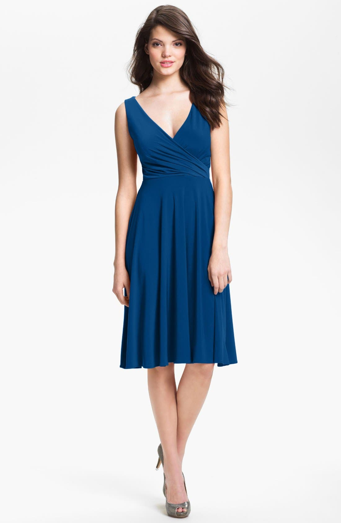 Alternate Image 1 Selected - Isaac Mizrahi New York Surplice Jersey Dress (Regular & Petite)