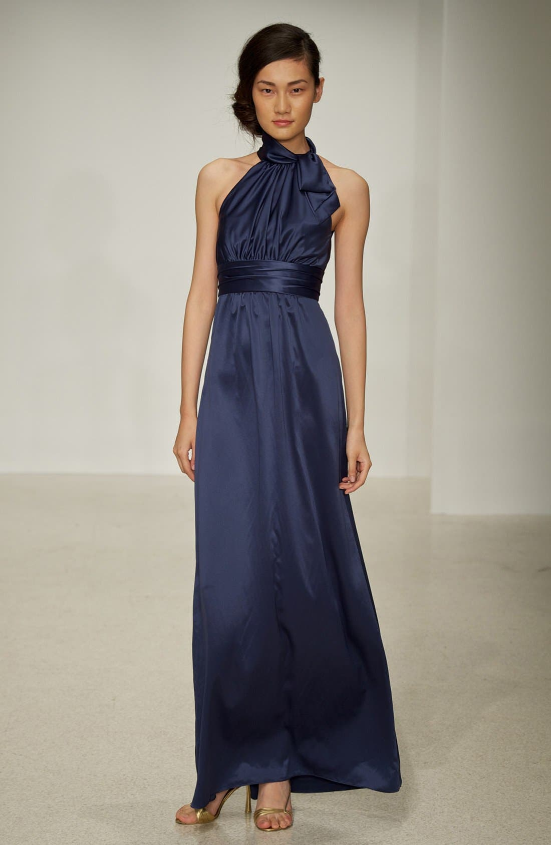Alternate Image 4  - Amsale Tie Neck Satin A-Line Gown
