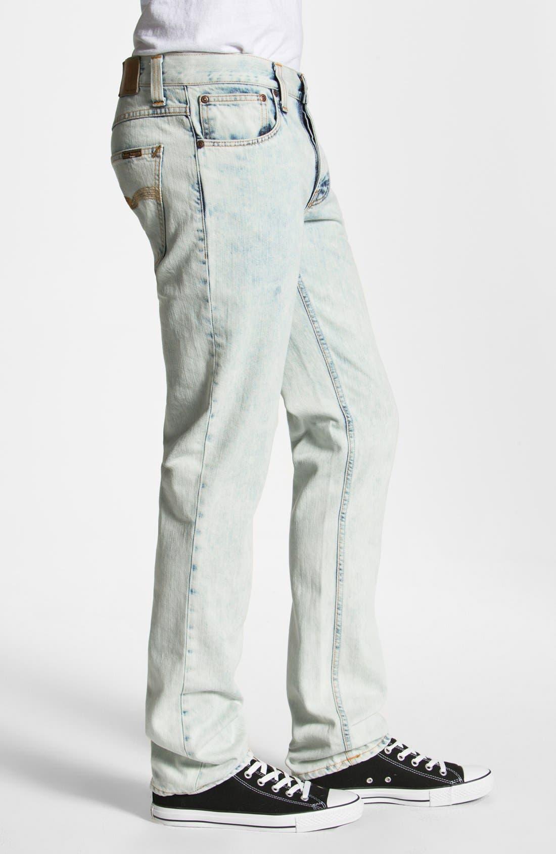 Alternate Image 3  - Nudie 'Grim Tim' Skinny Straight Leg Jeans (Organic Bleach Depot)