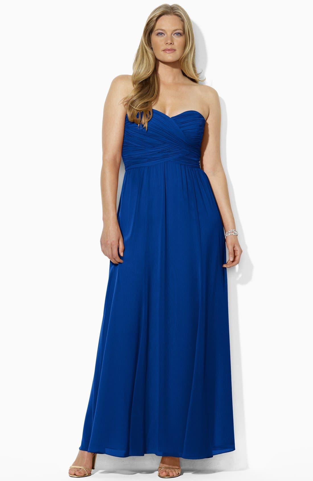 Alternate Image 1 Selected - Lauren Ralph Lauren Strapless Georgette Gown (Plus Size)