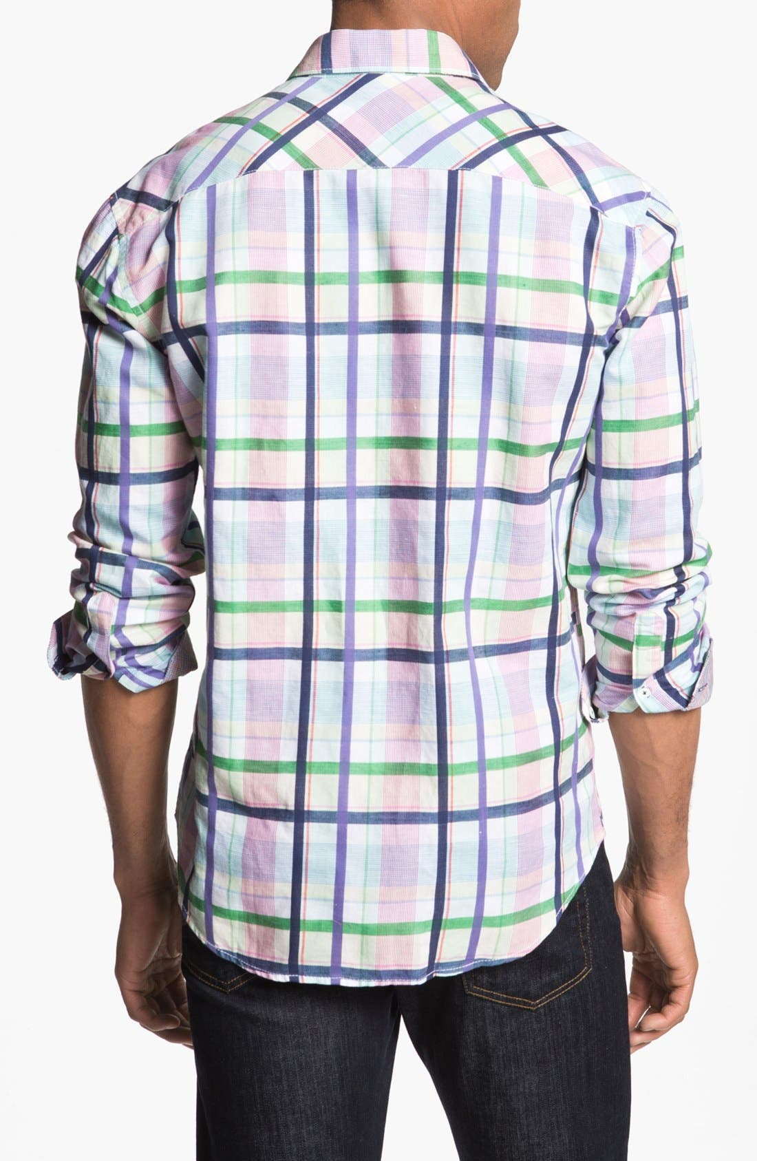 Alternate Image 3  - Bugatchi Check Shaped Fit Linen Blend Sport Shirt