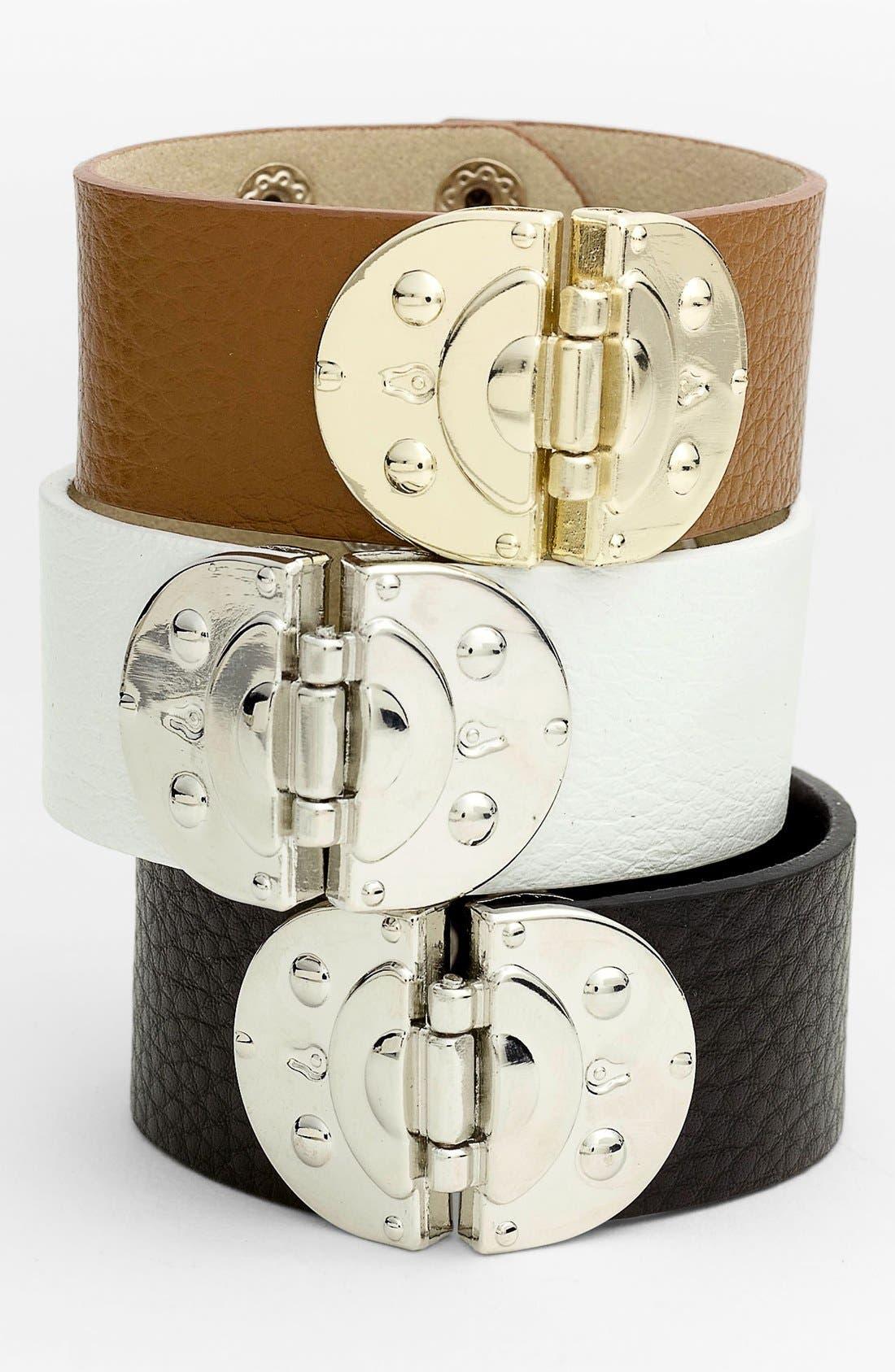 Main Image - Cara Hinged Leather Bracelet