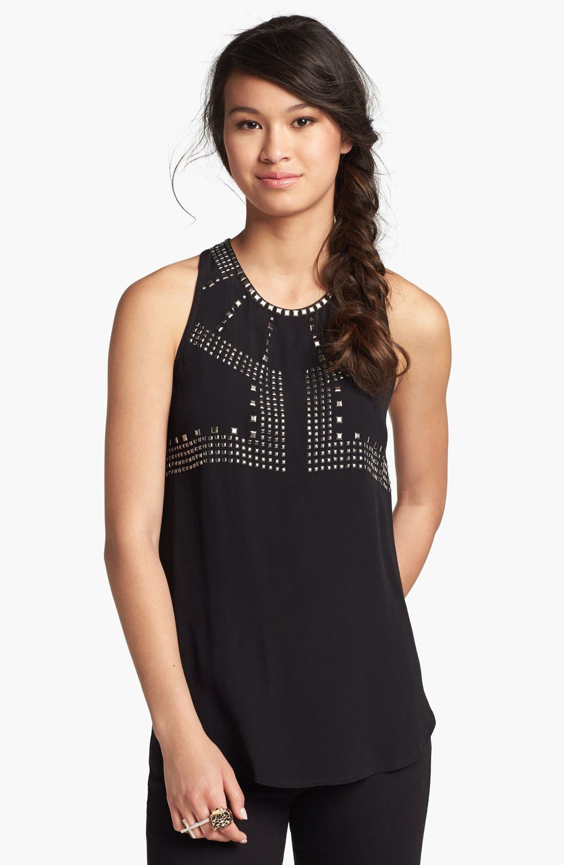Alternate Image 1 Selected - Lush Embellished High/Low Silk Blend Tank (Juniors) (Online Only)