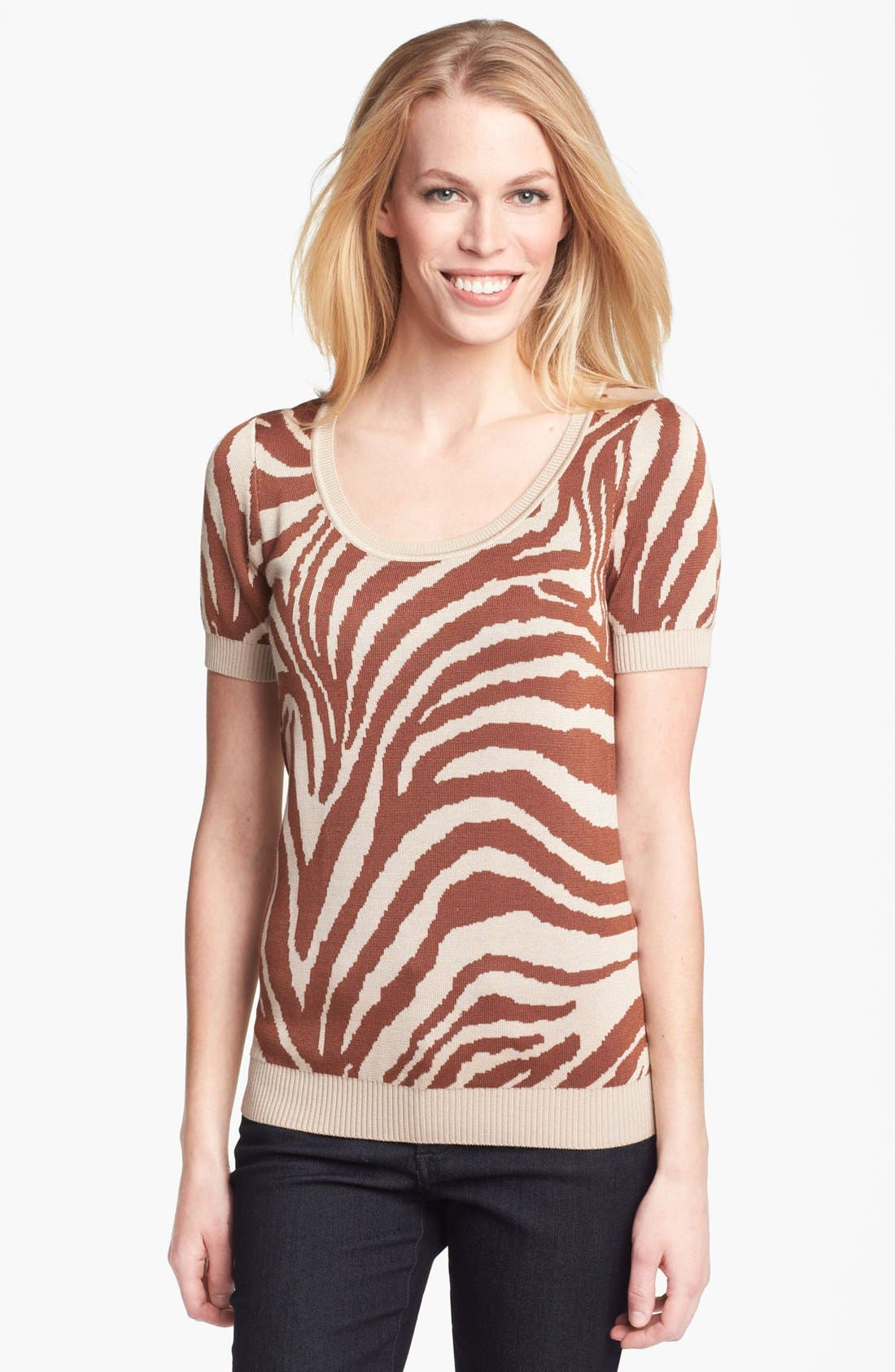 Alternate Image 1 Selected - Anne Klein Animal Intarsia Sweater (Petite)