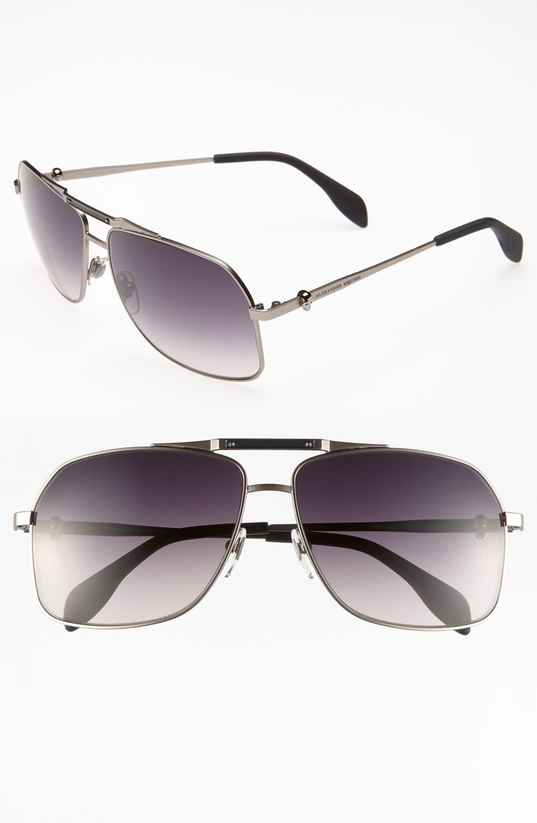 Main Image - Alexander McQueen 61mm Aviator Sunglasses (Online Only)