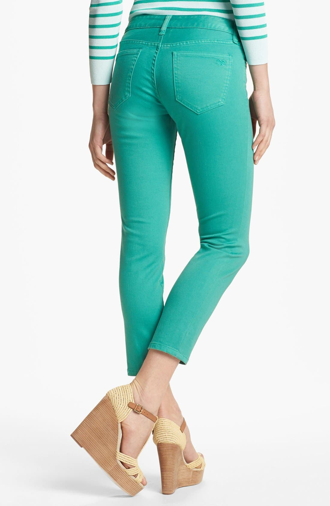 Alternate Image 2  - Tory Burch 'Alexa' Skinny Crop Stretch Jeans (Viridian Green)