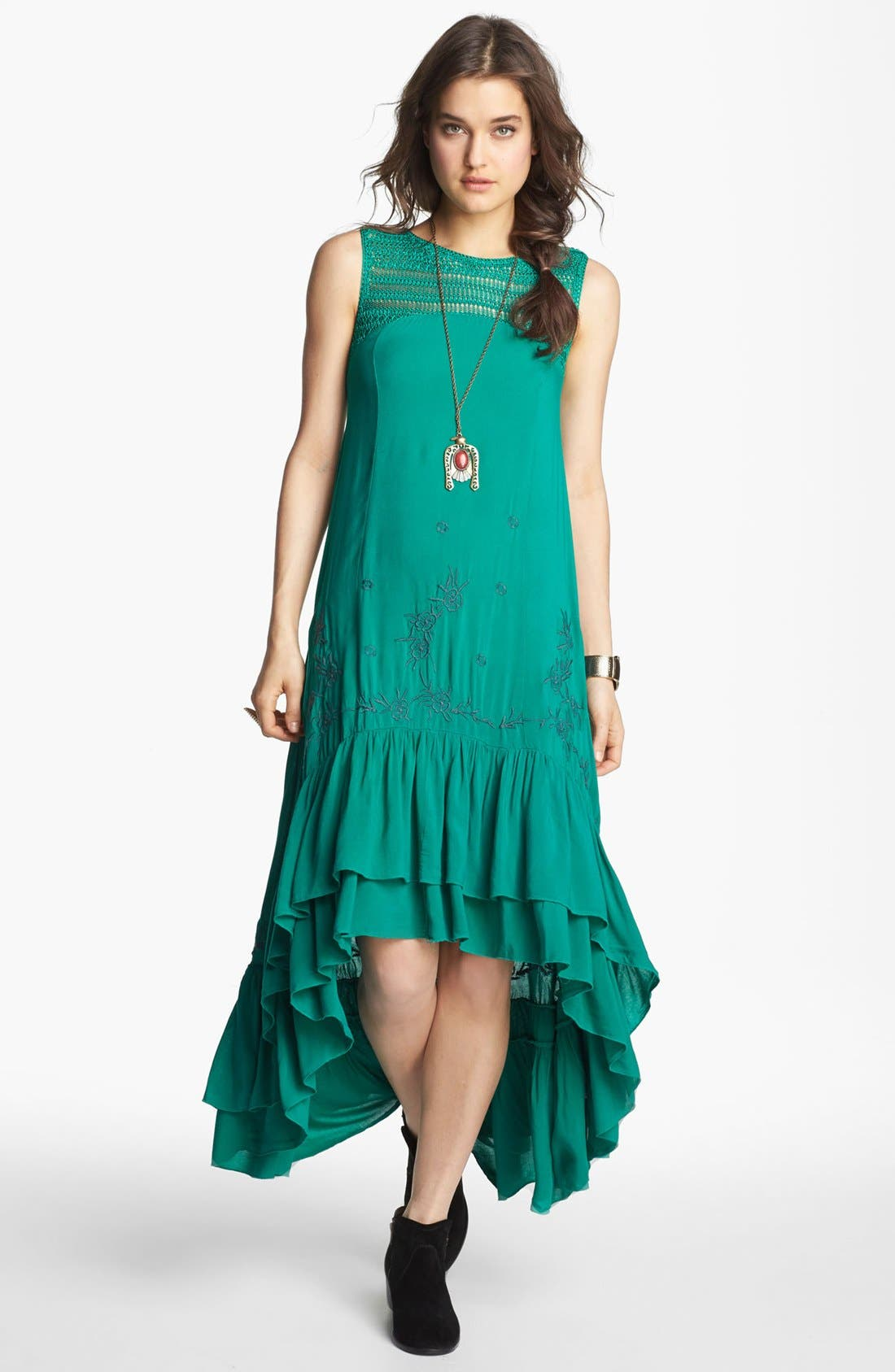 Alternate Image 1 Selected - Free People Embroidered Crochet Trim High/Low Dress