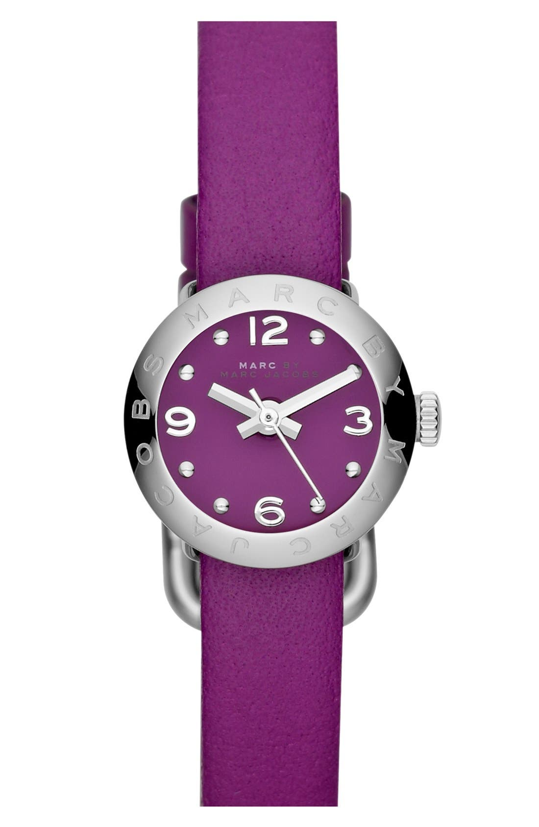 Main Image - MARC JACOBS 'Amy Dinky' Leather Strap Watch, 20mm