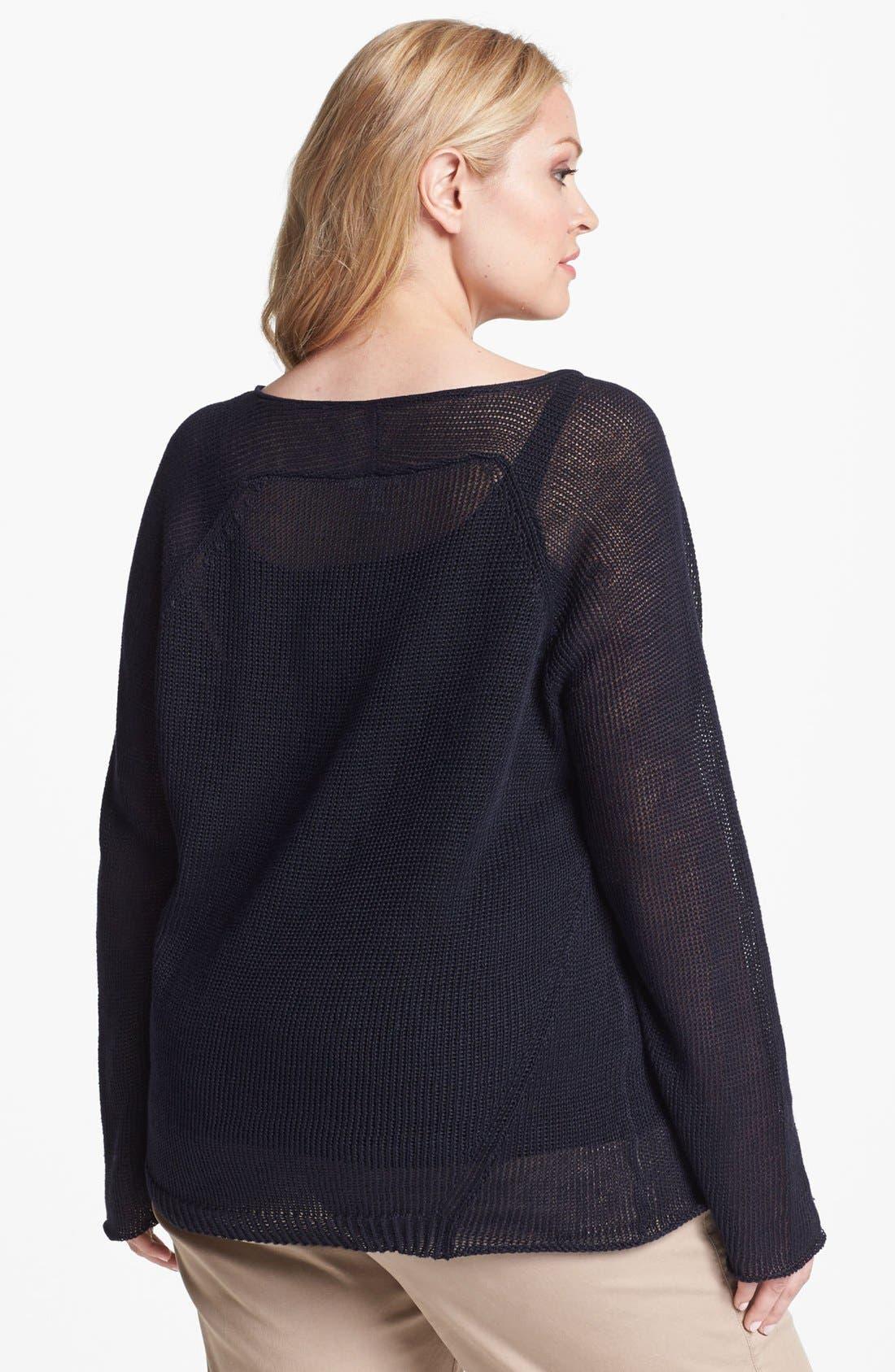 Alternate Image 2  - Eileen Fisher Open Stitch Raglan Sleeve Top (Plus Size)