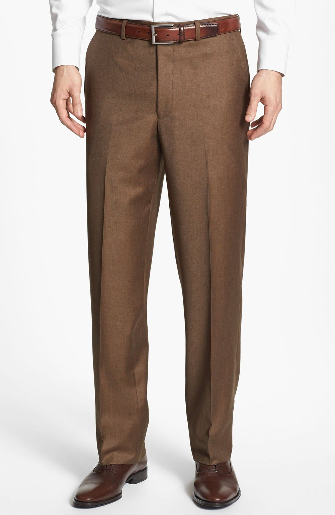 Alternate Image 1 Selected - Santorelli Luxury Flat Front Wool Trousers