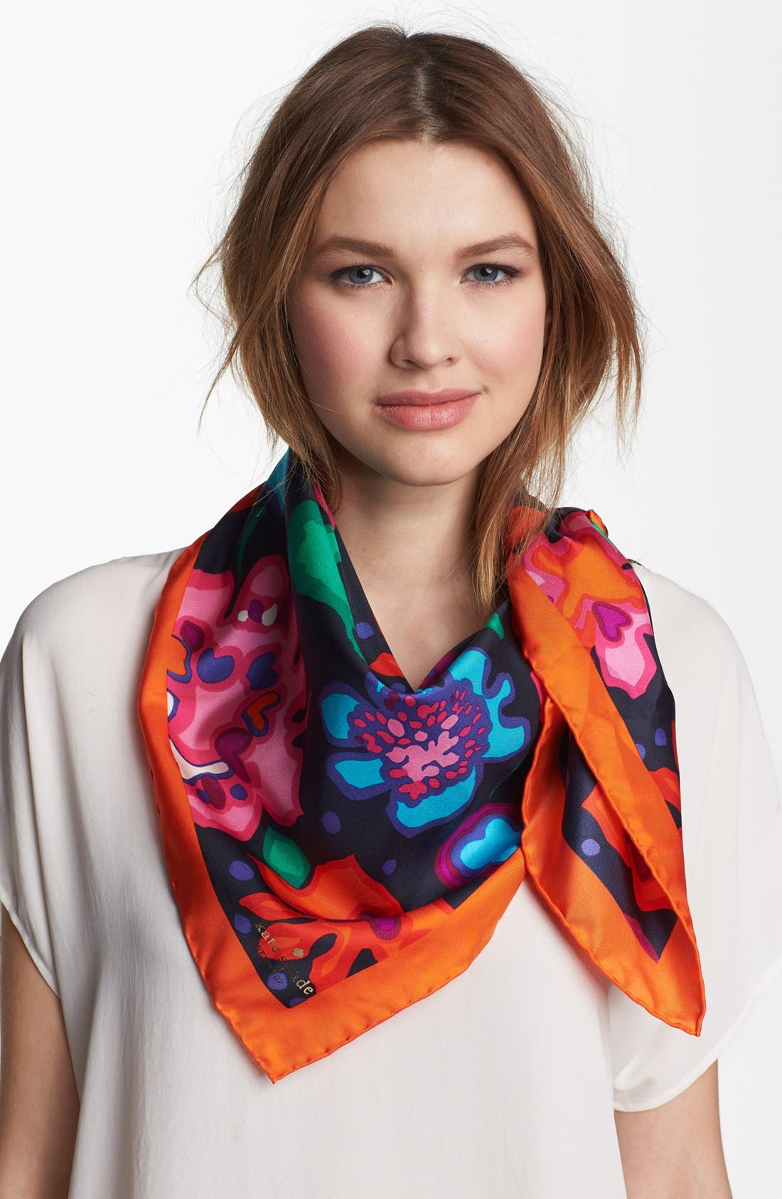 Main Image - kate spade new york 'mexican floral' silk scarf