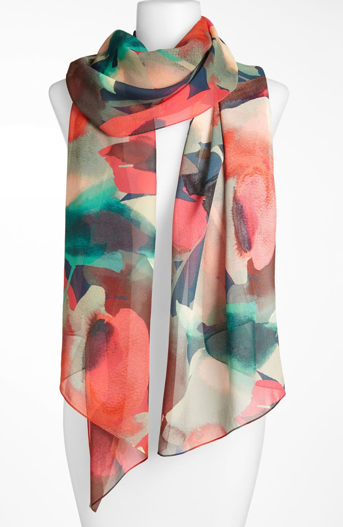 Main Image - St. John Collection Abstract Print Silk Georgette Scarf