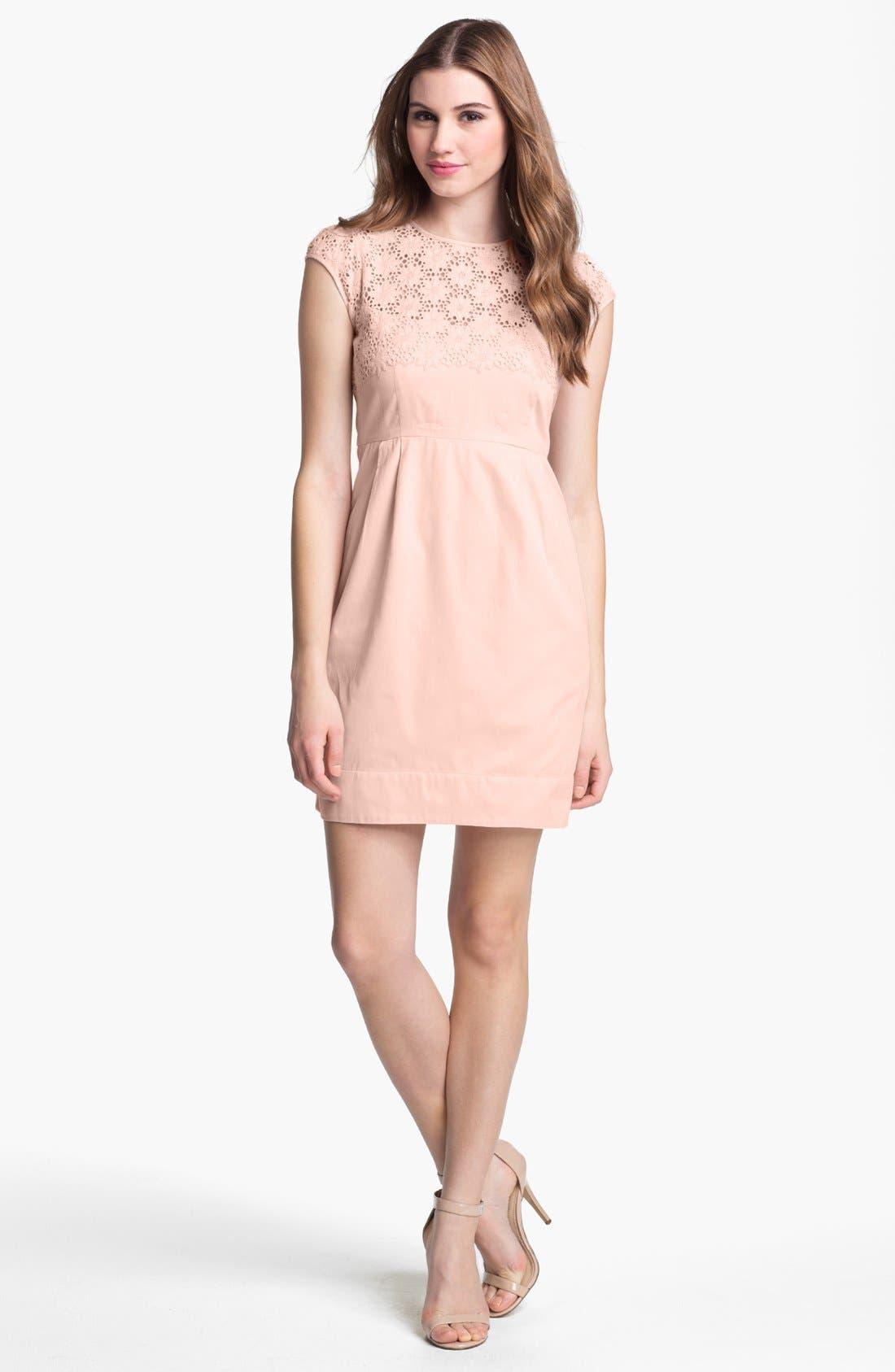 Main Image - French Connection 'Creamy' Embroidered Yoke Sheath Dress