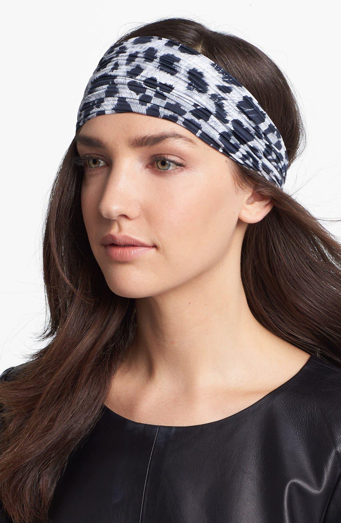 Main Image - Cara Pleated Leopard Print Head Wrap