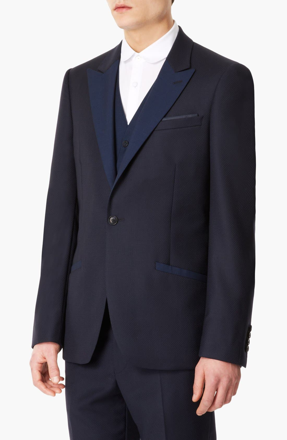 Alternate Image 1 Selected - Topman 'Lux Collection' Slim Fit Navy Wool One Button Blazer