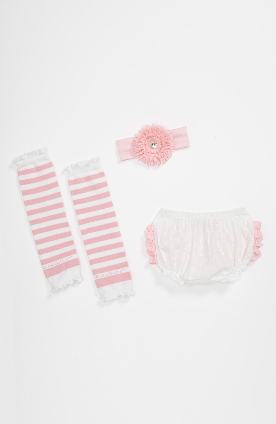 Main Image - RuffleButts 'Pink & White' Headband, Bloomers & Leg Warmers (Baby)