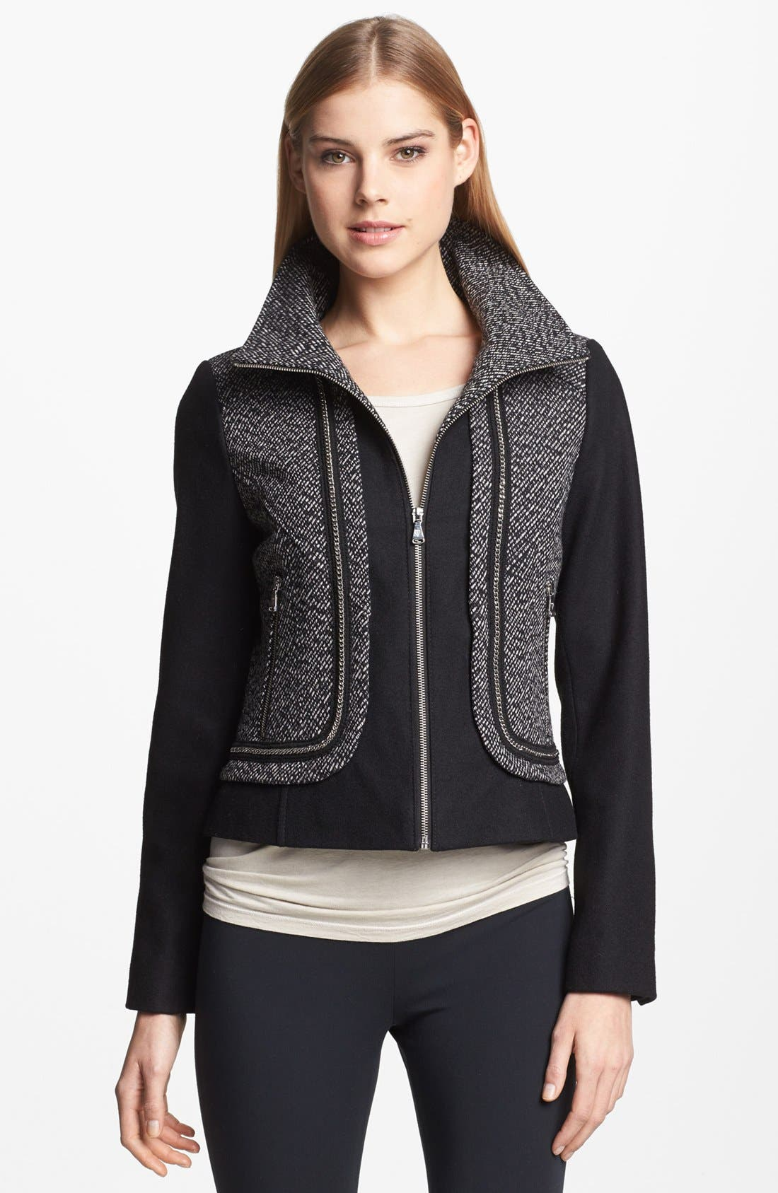 Main Image - GUESS Zip Front Mixed Media Jacket (Regular & Petite)