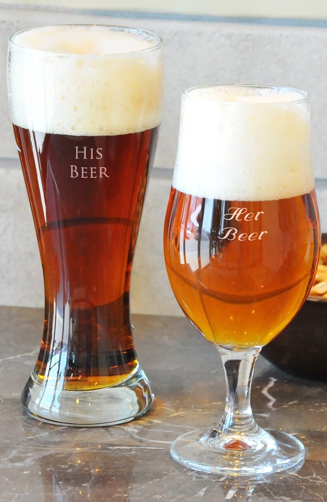 Alternate Image 1 Selected - Cathy's Concepts 'His Beer & Her Beer' Monogram Pilsner Glasses (Set of 2)