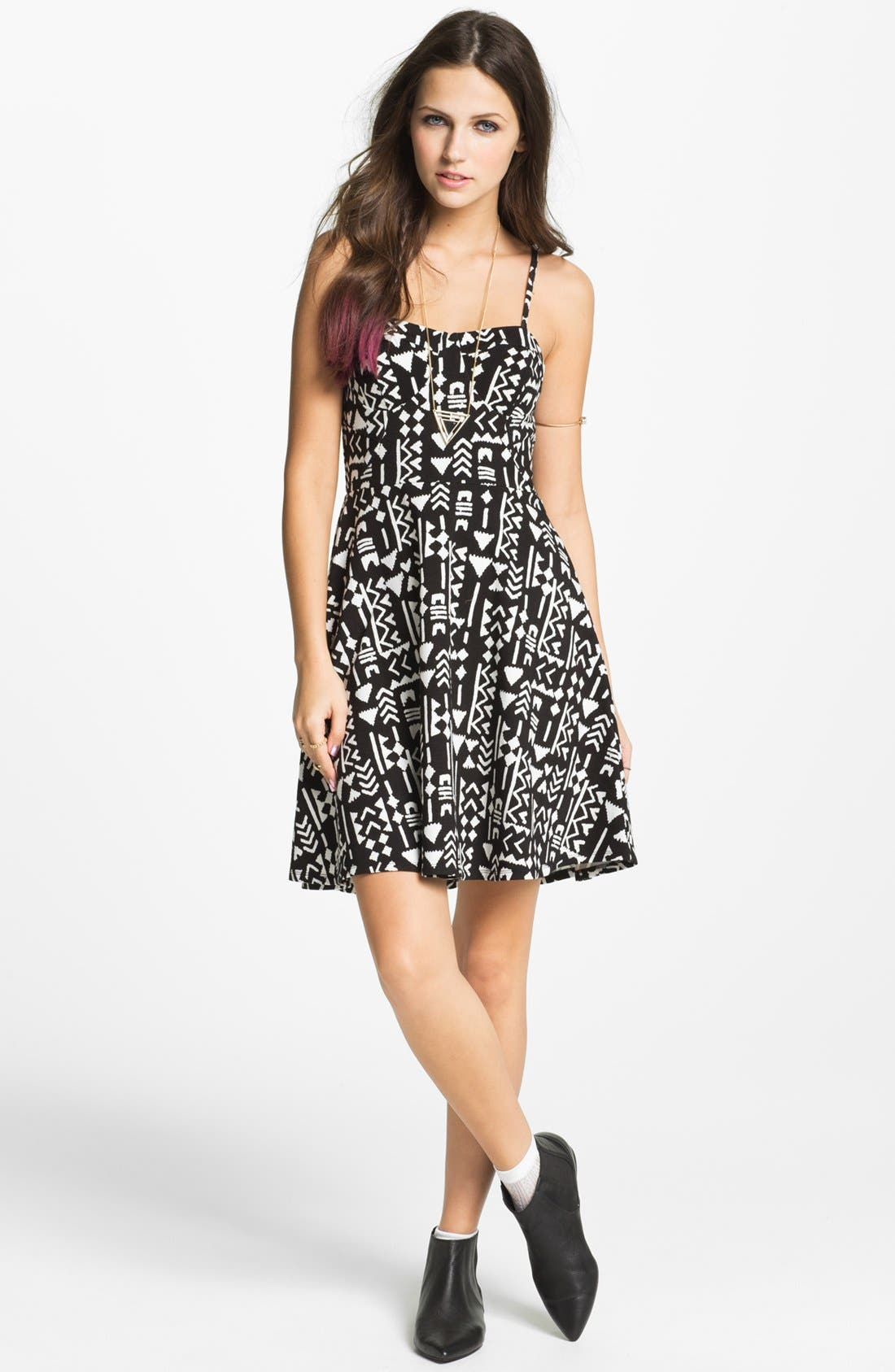 Main Image - Fire 'Cami' Skater Dress (Juniors)