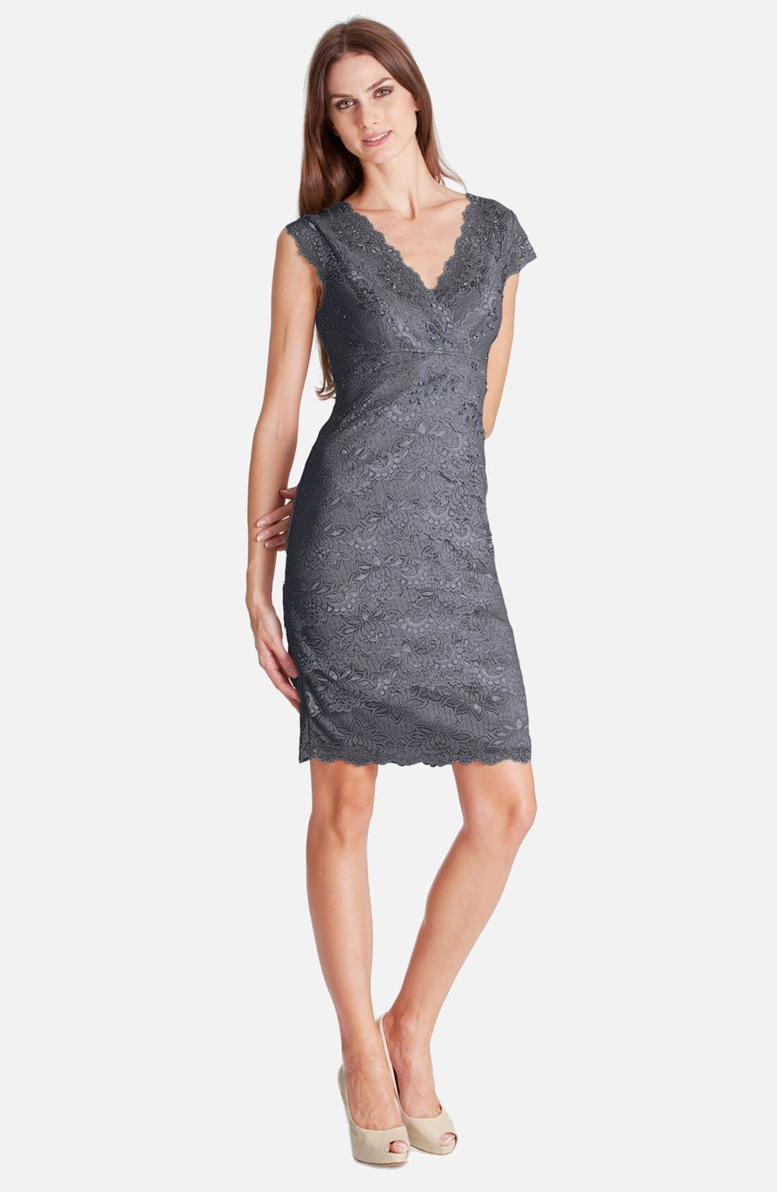 Main Image - JS Collections Layered Lace Sheath Dress (Petite)