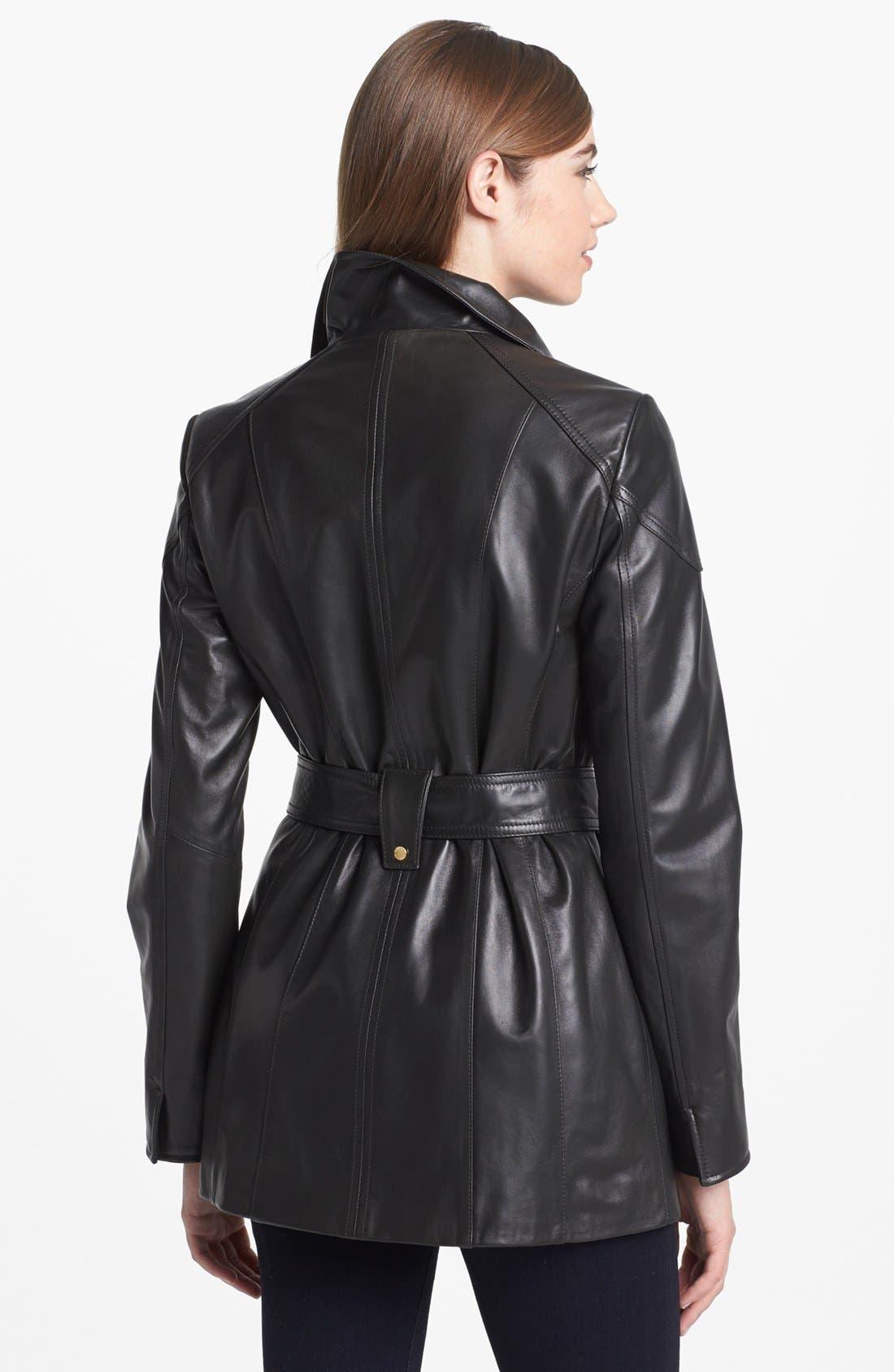 Alternate Image 2  - Ellen Tracy Belted Leather Jacket (Nordstrom Exclusive)