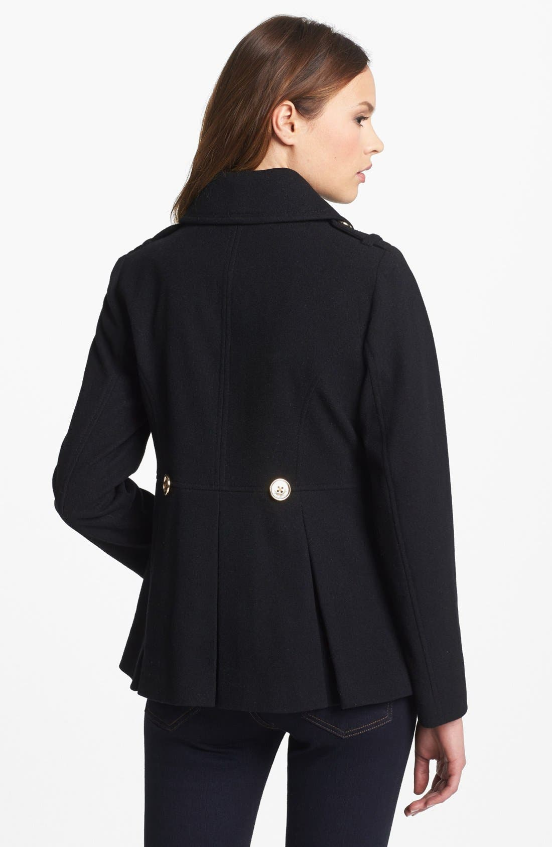 Double Breasted Peacoat,                             Alternate thumbnail 2, color,                             Black