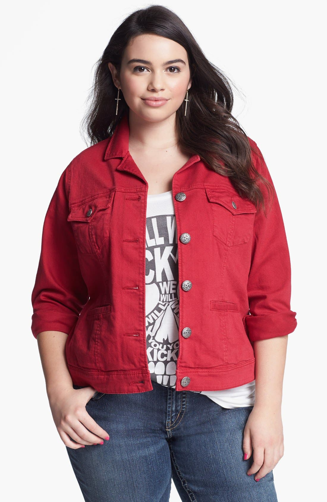 Alternate Image 1 Selected - Silver Jeans Co. Denim Jacket (Juniors Plus)