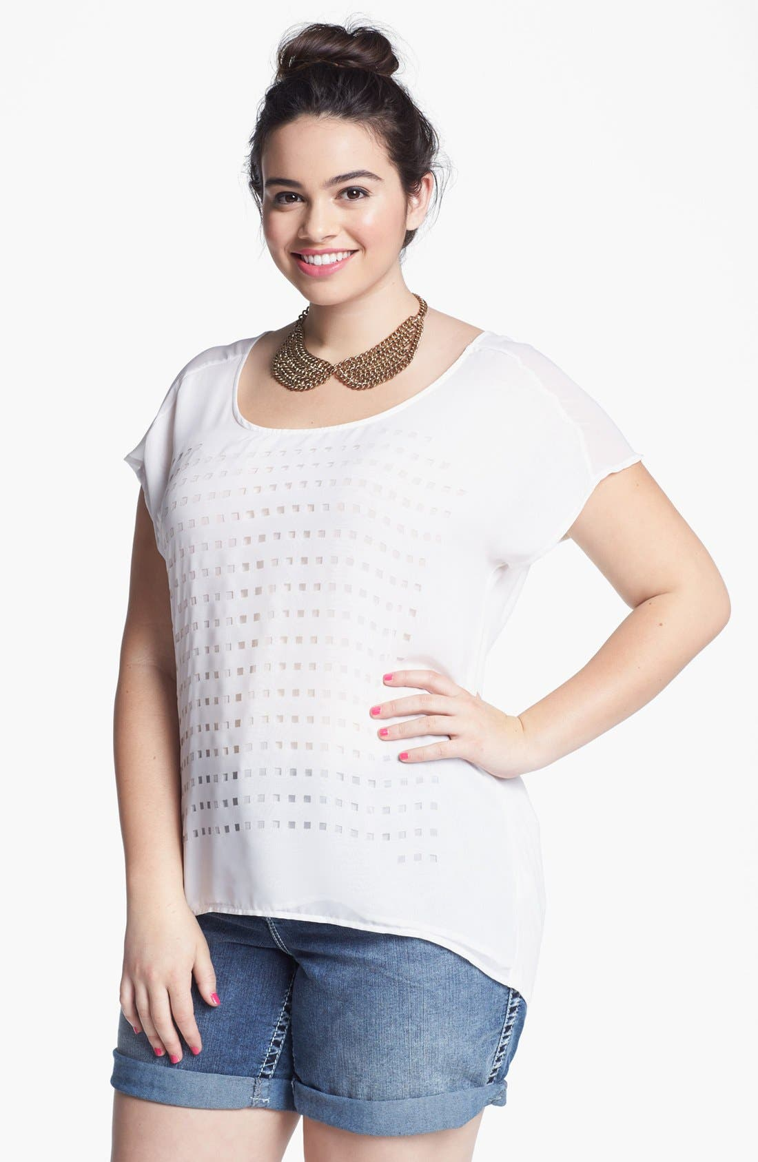 Main Image - Pleione Laser Cut Mixed Media Top (Plus Size)