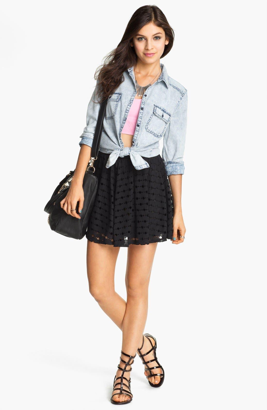 Alternate Image 4  - h.i.p. 'Deconstructed' Skater Skirt (Juniors)
