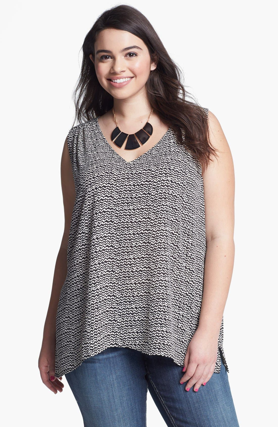 Alternate Image 1 Selected - Eight Sixty Sleeveless Print Top (Plus Size)