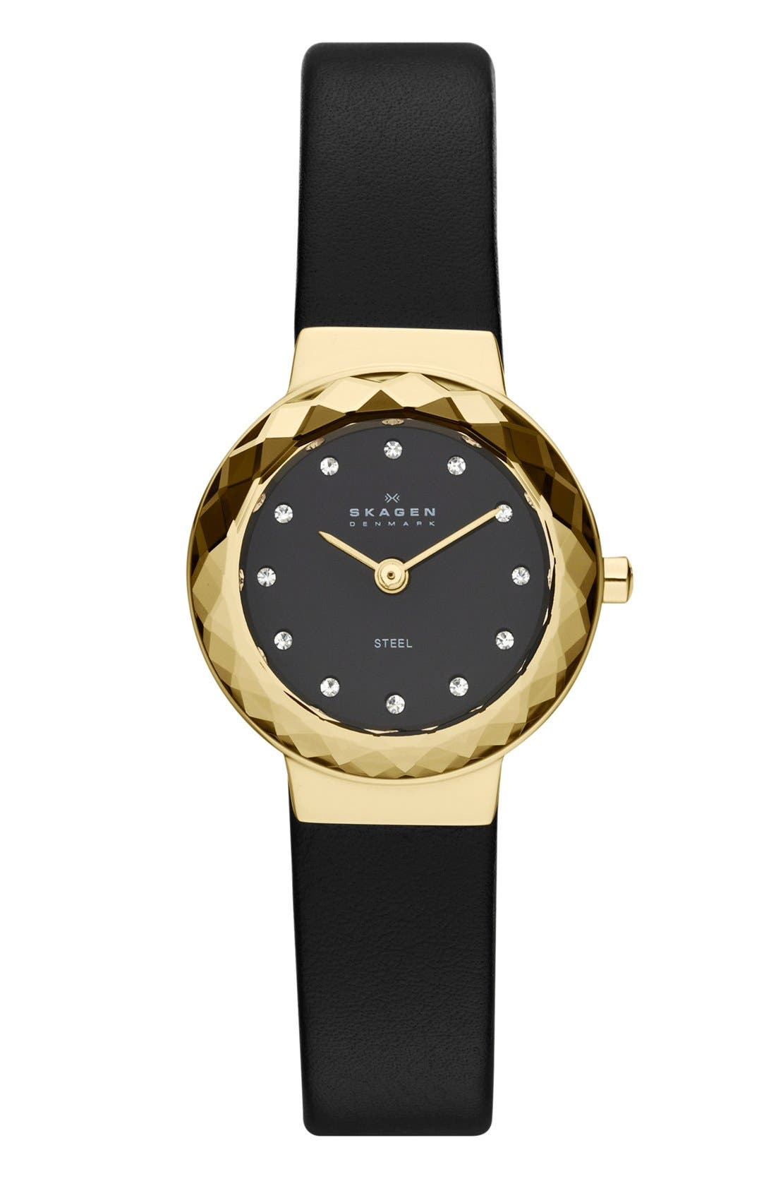 Main Image - Skagen Faceted Bezel Leather Strap Watch, 25mm