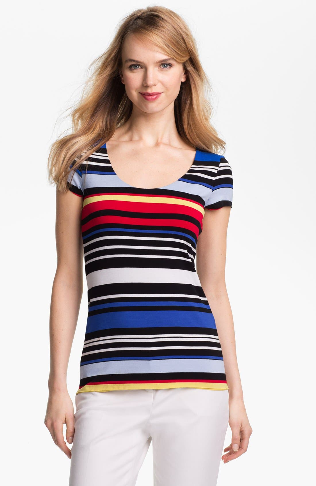 Alternate Image 1 Selected - Vince Camuto Back Cutout Stripe Tee