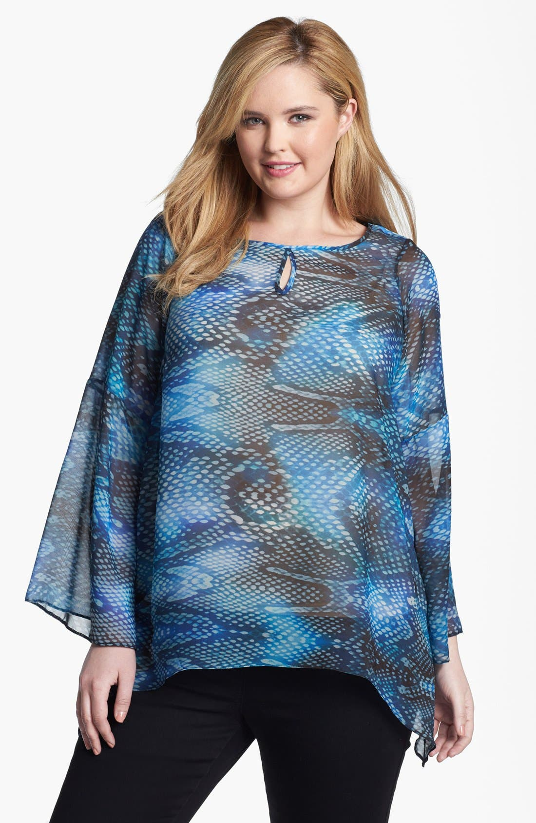 Alternate Image 1 Selected - Evans Print Chiffon Tunic (Plus Size)