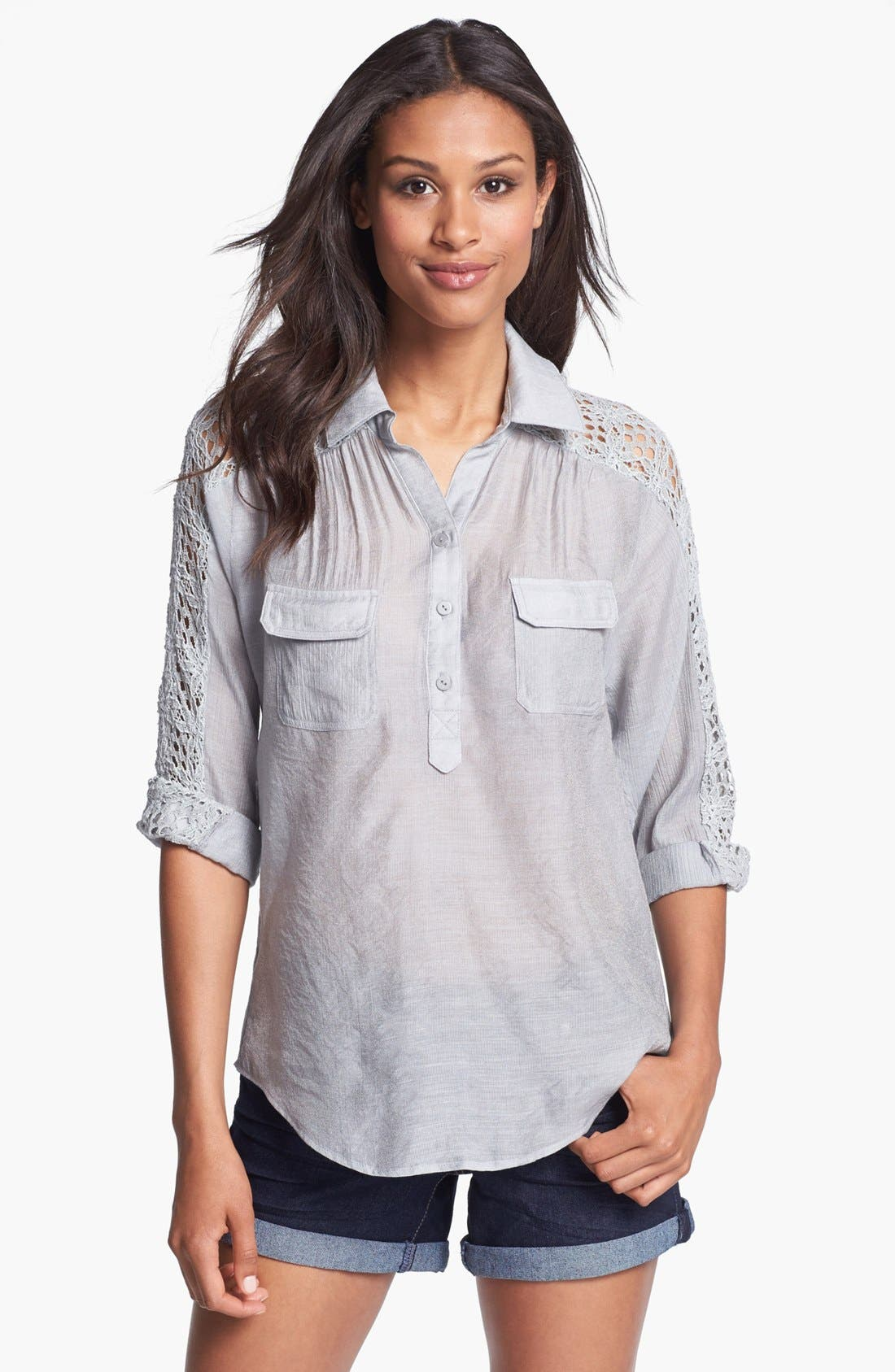 Alternate Image 1 Selected - KUT from the Kloth 'Leana' Lace Trim Shirt