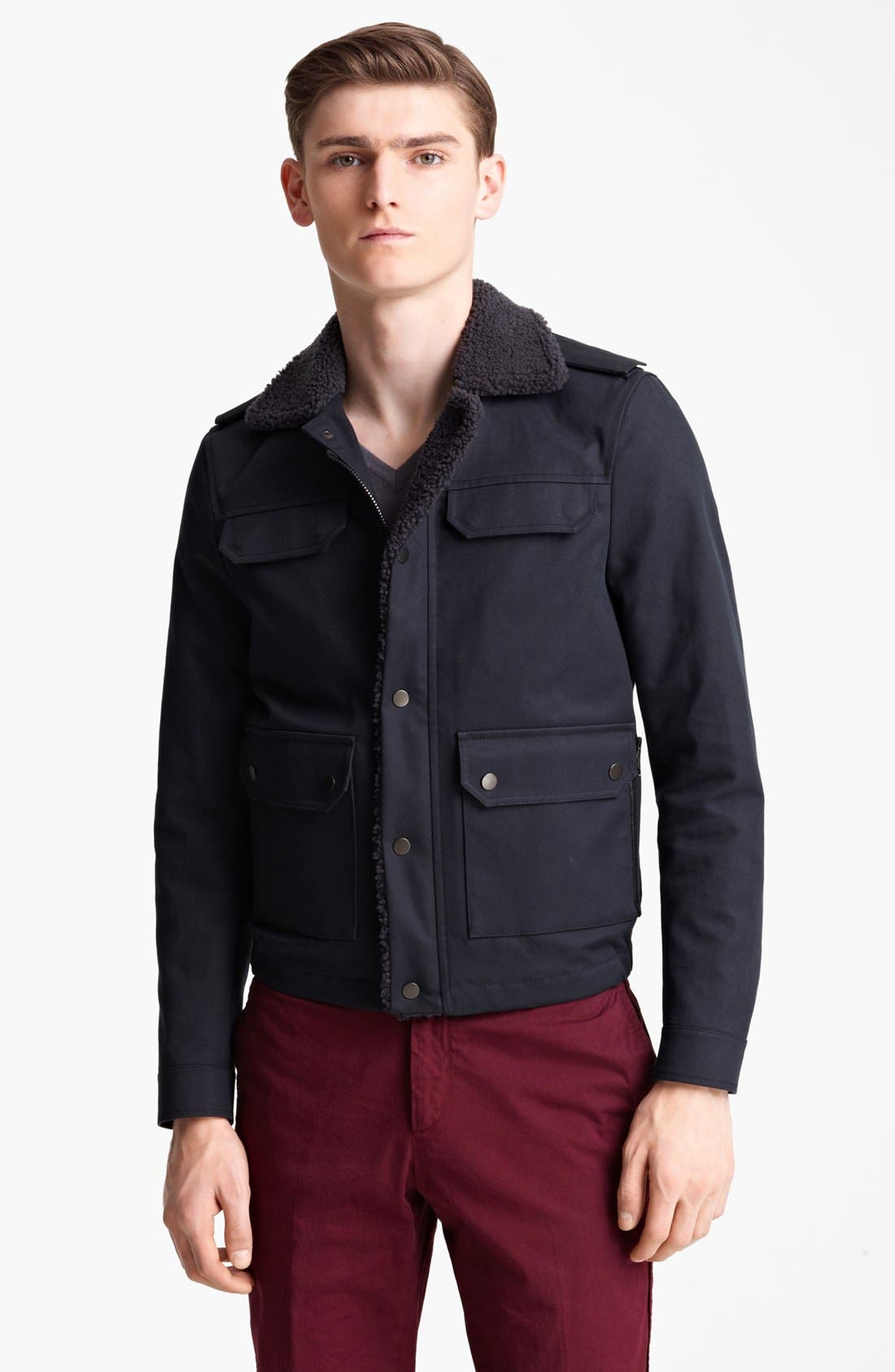 Main Image - Lanvin Genuine Shearling & Cotton Bomber Jacket