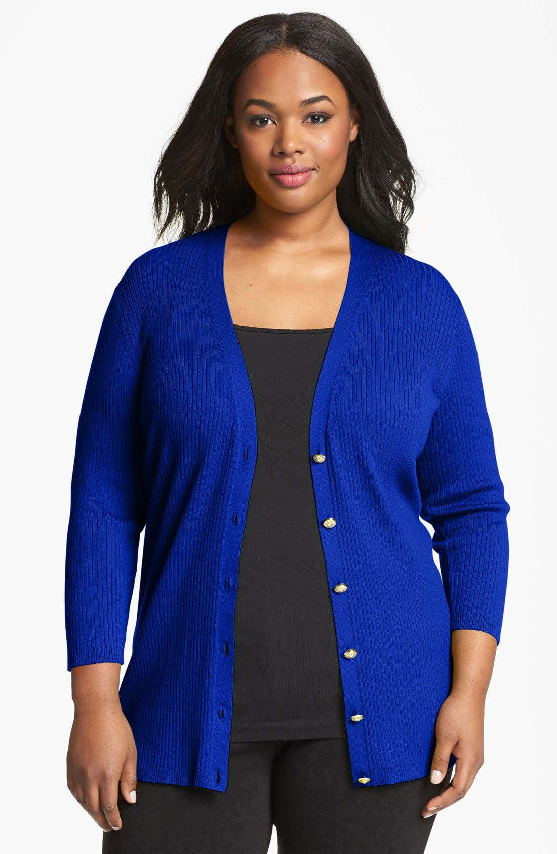 Alternate Image 1 Selected - Anne Klein Ribbed Cardigan (Plus Size)