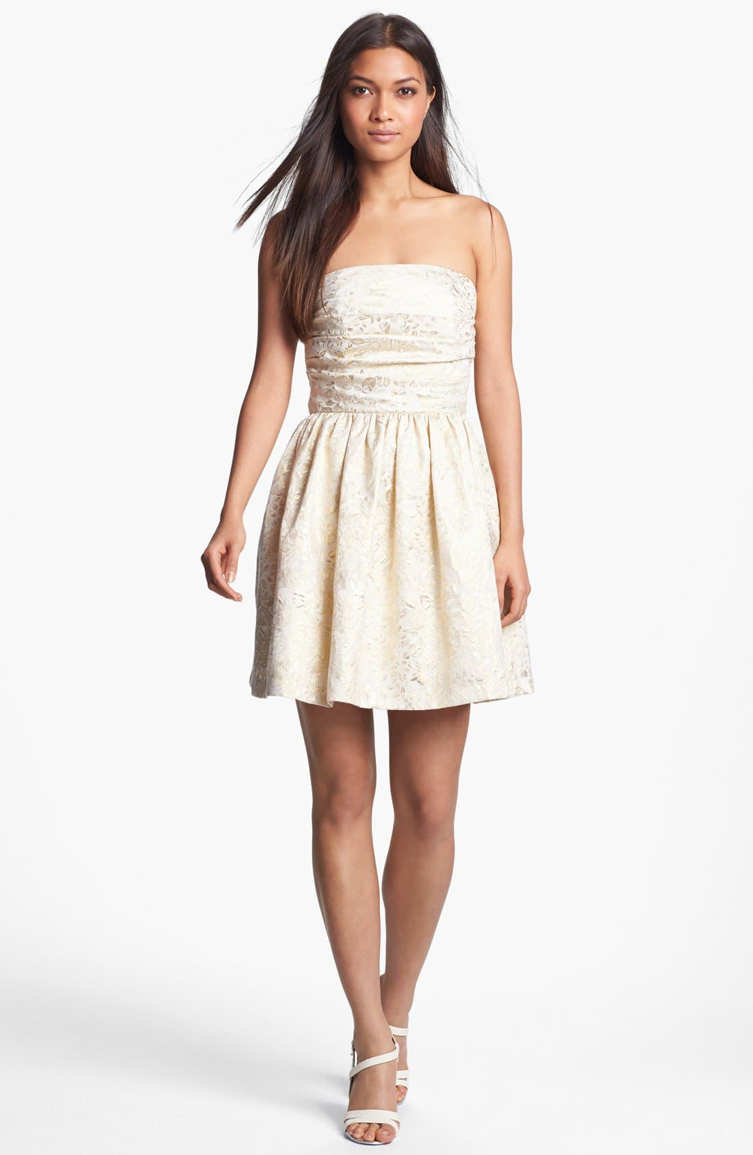 Alternate Image 1 Selected - Wyton Metallic Brocade Fit & Flare Dress