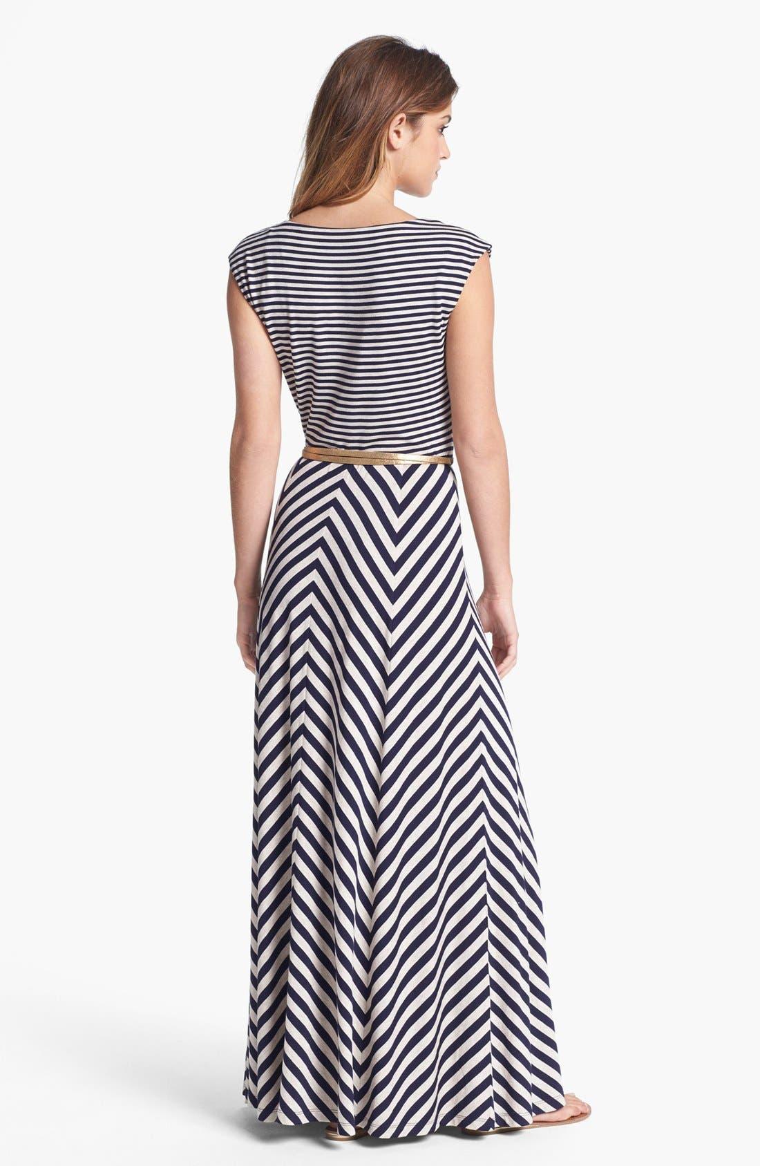 Alternate Image 2  - Calvin Klein Belted Multi Print Jersey Maxi Dress