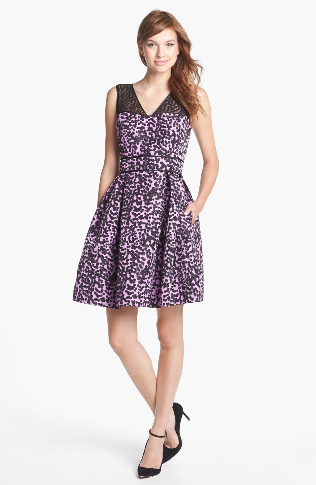 Alternate Image 1 Selected - Taylor Dresses Print Fit & Flare Dress
