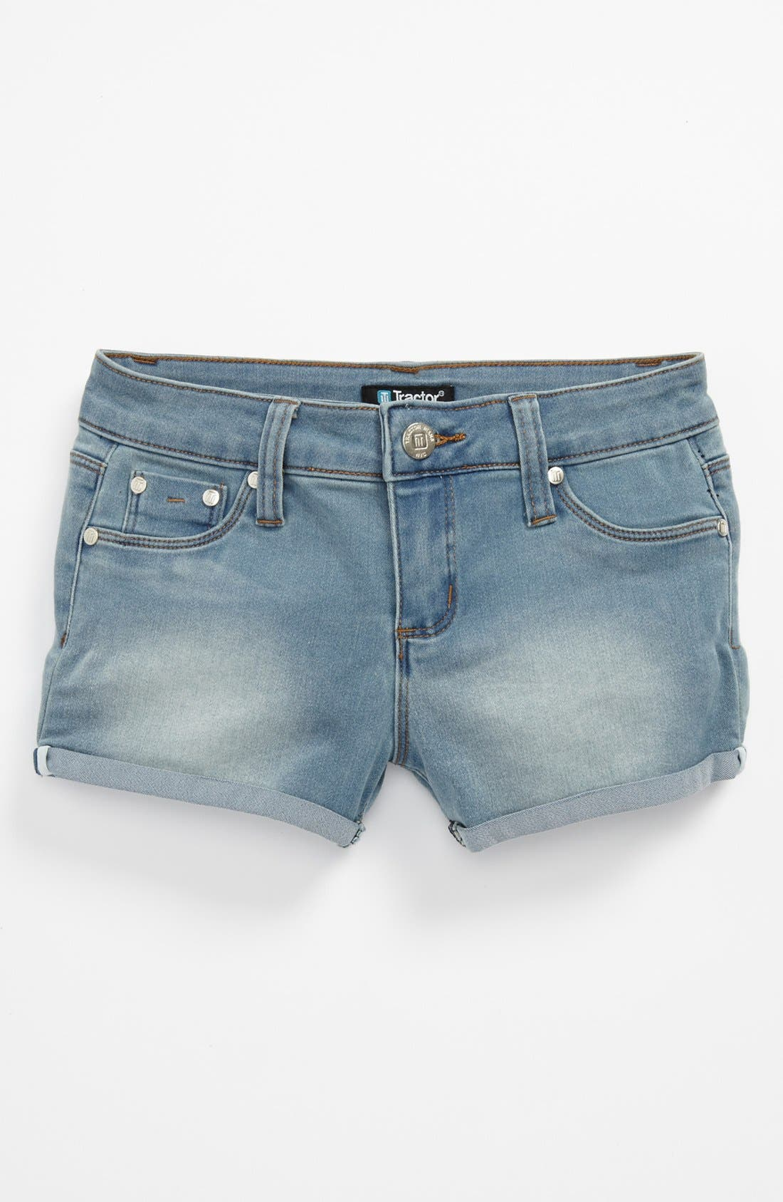 Alternate Image 1 Selected - Tractor 'Roll Up' Shorts (Big Girls)