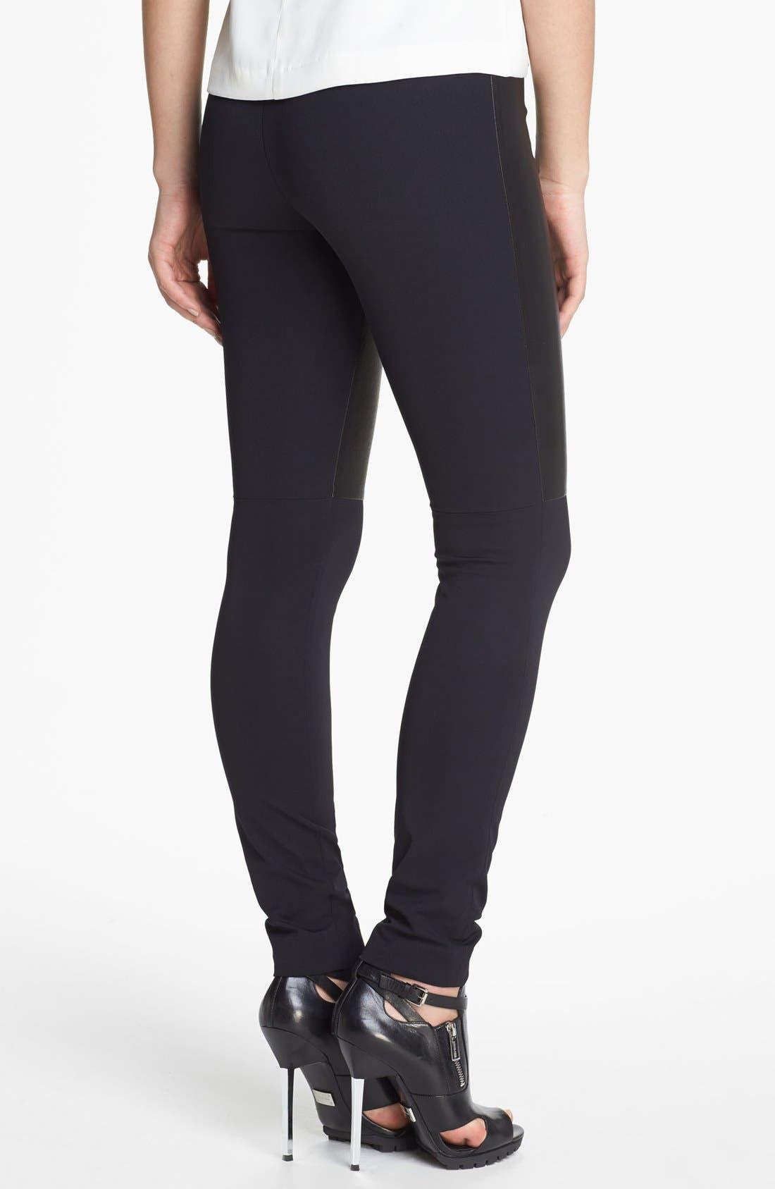Alternate Image 2  - Milly 'Bri' Leather Panel Leggings