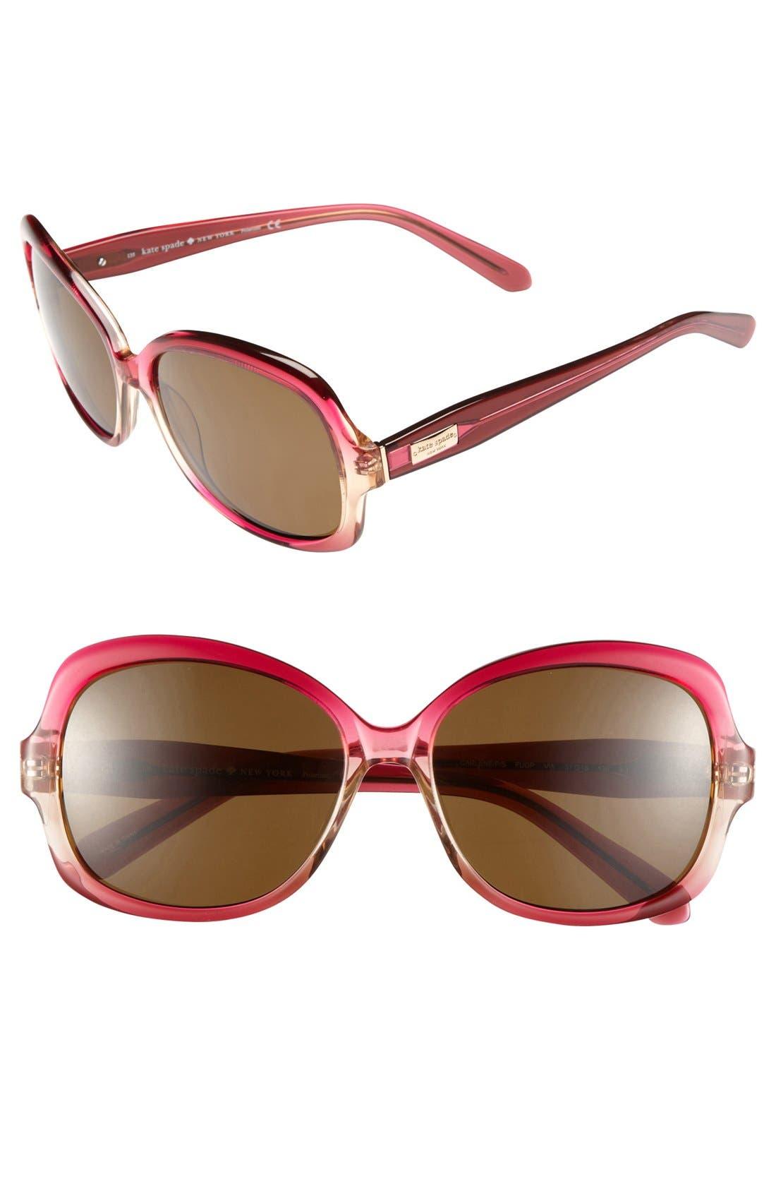 Main Image - kate spade new york 'carlene' 57mm polarized sunglasses