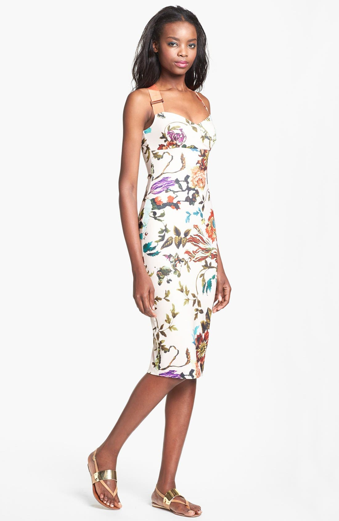 Alternate Image 1 Selected - Ted Baker London 'Midsummer Floral' Stretch Jersey Midi Dress